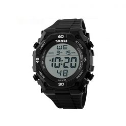 50M Waterproof Digital Quartz Sports Watch - Black/Silver