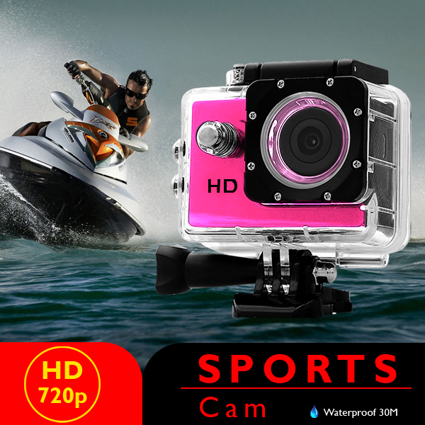 5 MP Photo Resolution 5 MP Image Sensor Action Camera with 2 inch LCD Monitor - Pink