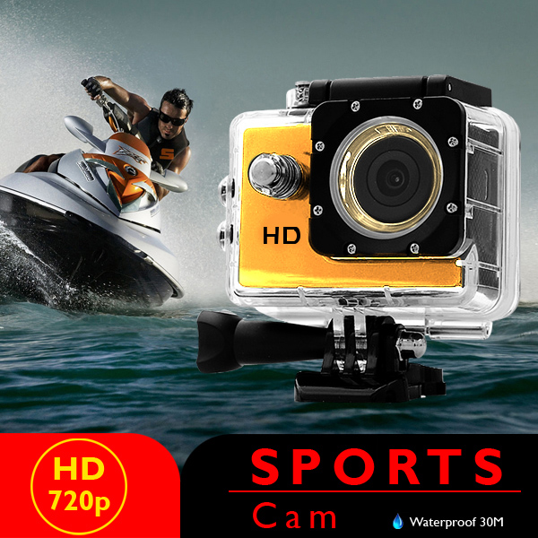 5 MP Photo Resolution 5 MP Image Sensor Action Camera with 2 inch LCD Monitor - Yellow