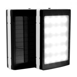 7,000 mAh Solar Power Bank With LED Panel Light - Black