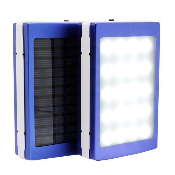 7,000 mAh Solar Power Bank With LED Panel Light - Blue