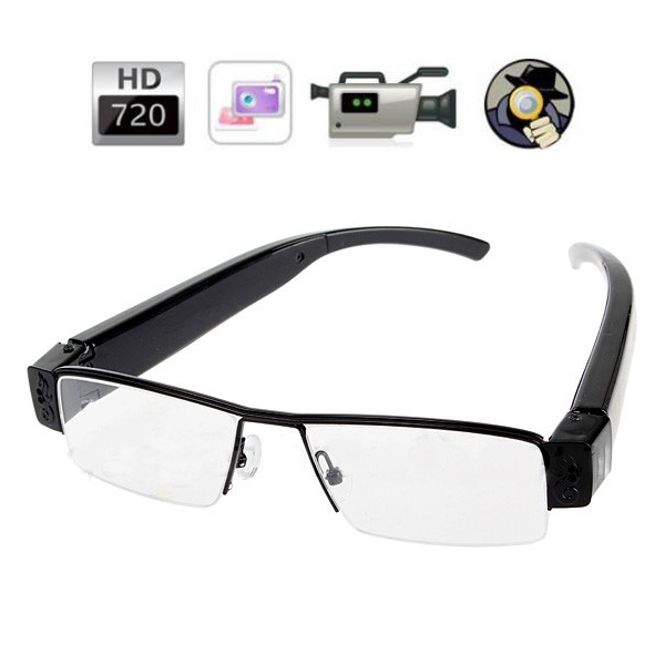 720P Half Rim Camera Eyeglass - Black