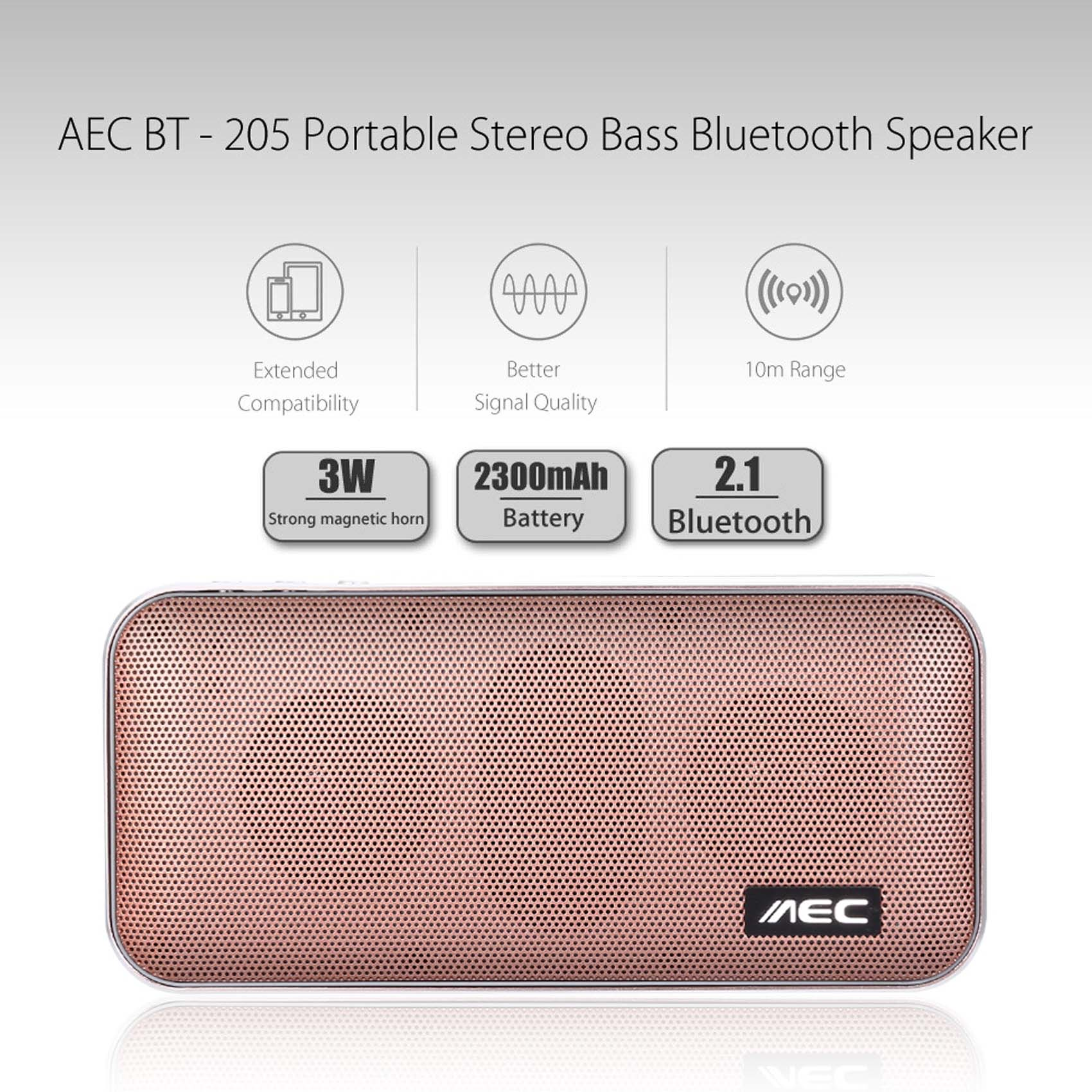 AEC Portable Stereo Bass Bluetooth Speaker With Built In 2600 MAH Powerbank - Rose Gold