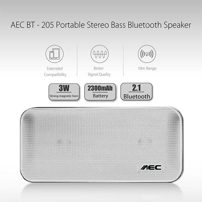 AEC Portable Stereo Bass Bluetooth Speaker With Built In 2600 MAH Powerbank - Silver