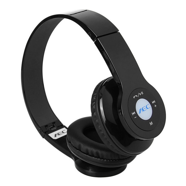 AEC Foldable Bluetooth Headphones With FM And Mp3 Player - Black