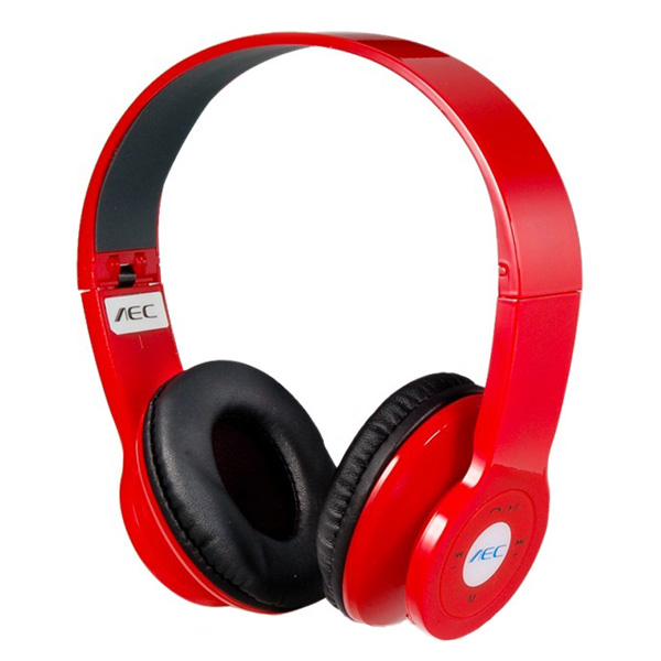 AEC Foldable Bluetooth Headphones With FM And Mp3 Player  - Red