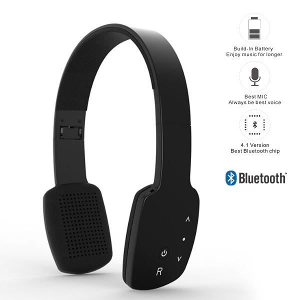 AEC Smart HiFi Wireless Bluetooth Headphone With Touch Sensitive Control Panel - Black