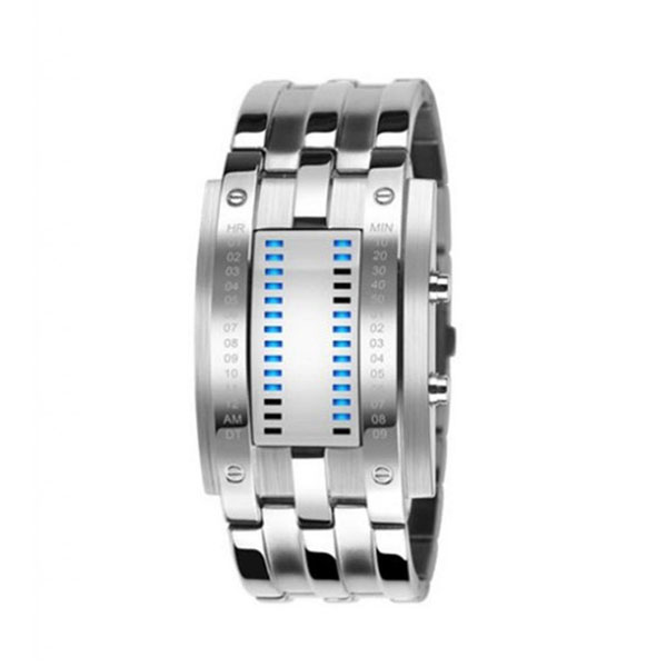 Army Style LED Watch with Alloy Bracelet - Silver