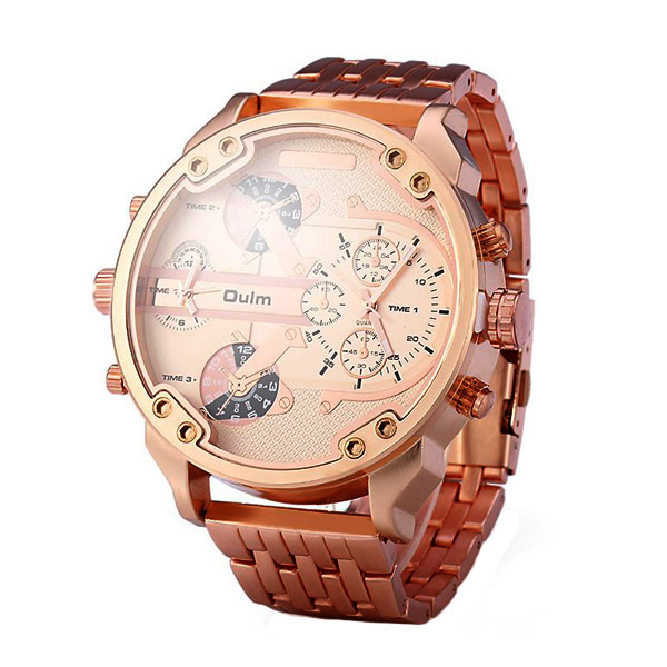 Big Dial Dual Time Stainless Watch 3548 - Rose Gold