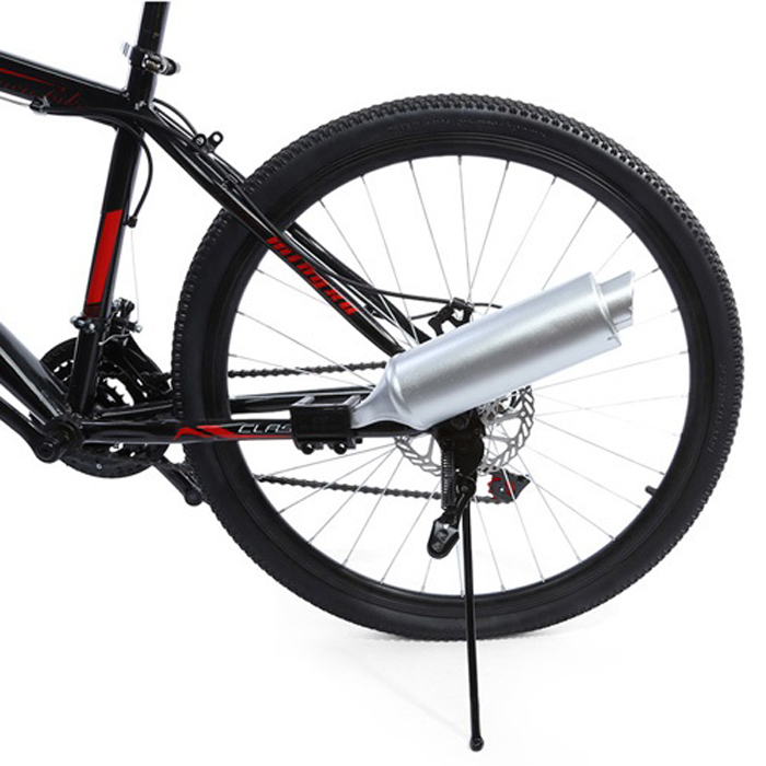 Improvised Motorcycle Turbine Exhaust Pipe For Bicycle - Silver