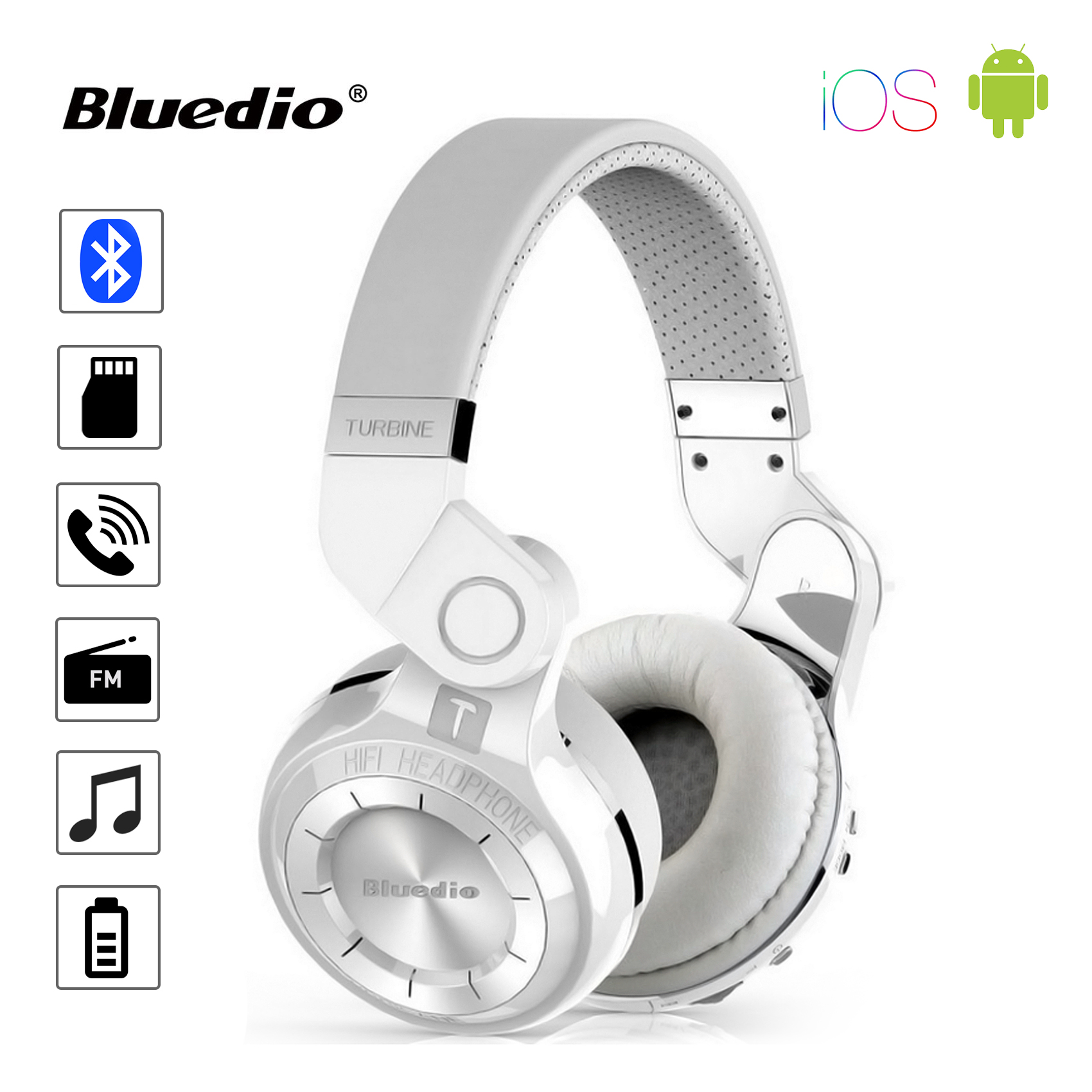 Bluedio T2+ Turbine Hurricane Bluetooth Stereo Headset - White