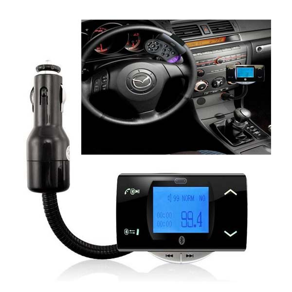 Bluetooth Car FM Modulator With Steering Wheel Controller - Black
