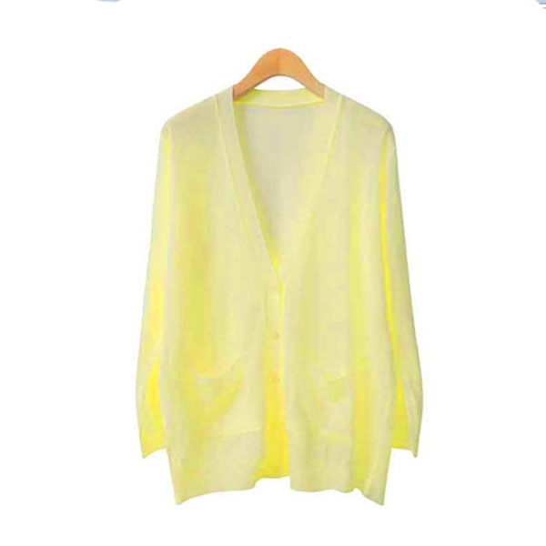 Cardigans Thin Knitted V-Neck Long Sleeve  - Yellow