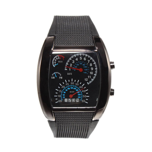 Casual Water Resistant LED Metal Speedometer Watch - Black