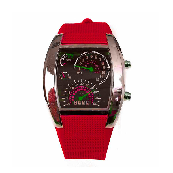 Casual Water Resistant LED Metal Speedometer Watch - Red