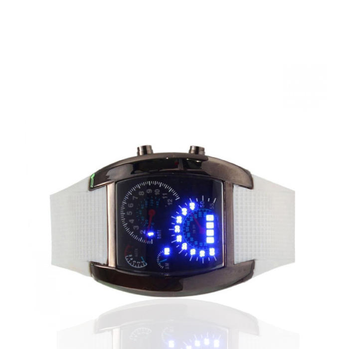 Casual Water Resistant LED Metal Speedometer Watch - White