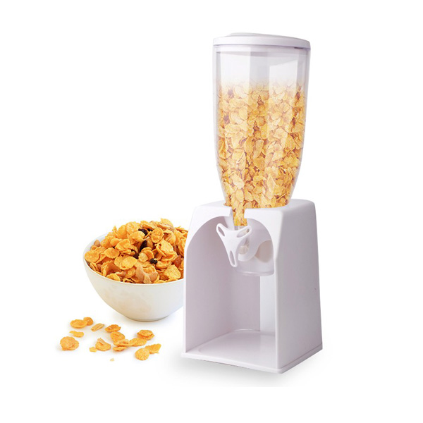 Single Cereal Dry Food Dispenser and Container - White