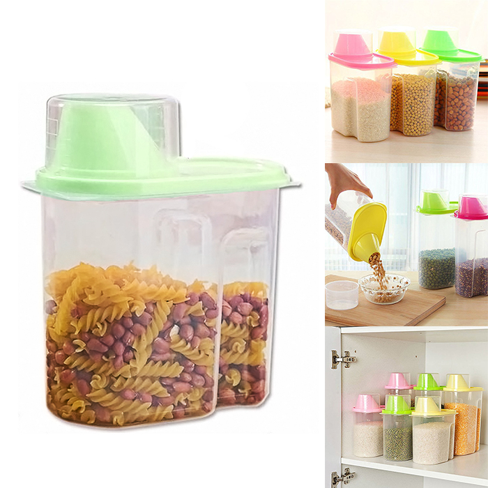Cereal Dispenser Jar Storage Containers 1.9 Liter - Green