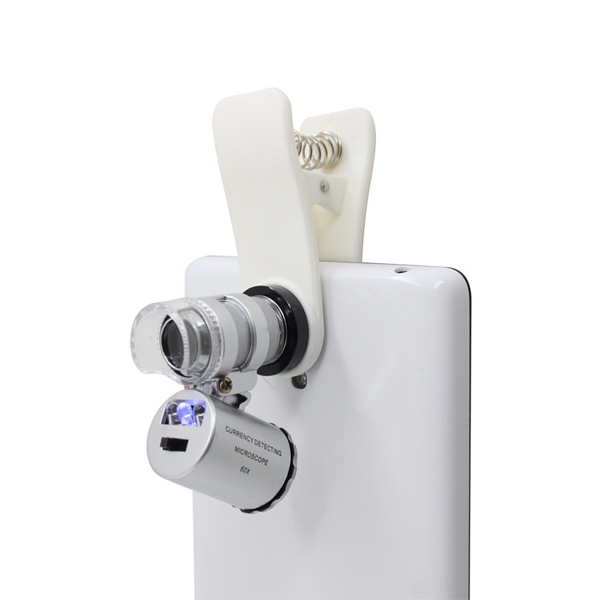 Universal Clip-On 60X Zoom Microscope Lens For Smartphone - White