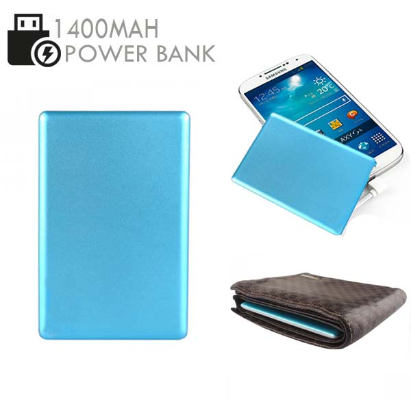 Credit Card Size 1400mAh  Power Bank - Blue