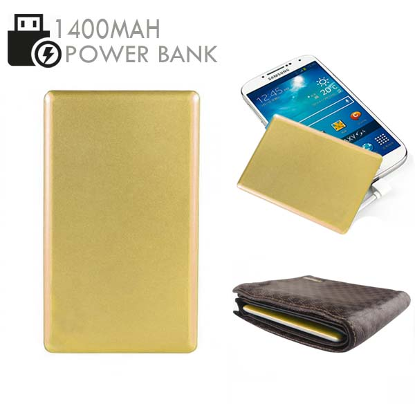 Credit Card Size 1400mAh  Power Bank - Gold