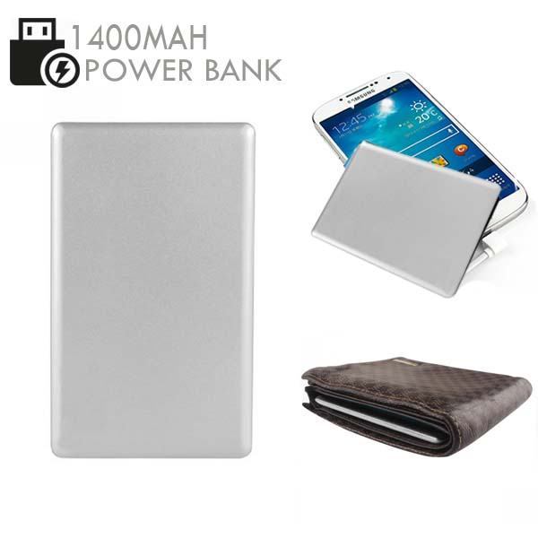 Credit Card Size 1400mAh  Power Bank - Silver