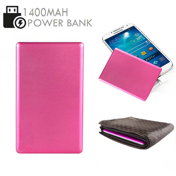 Credit Card Size 1400mAh  Power Bank - Pink