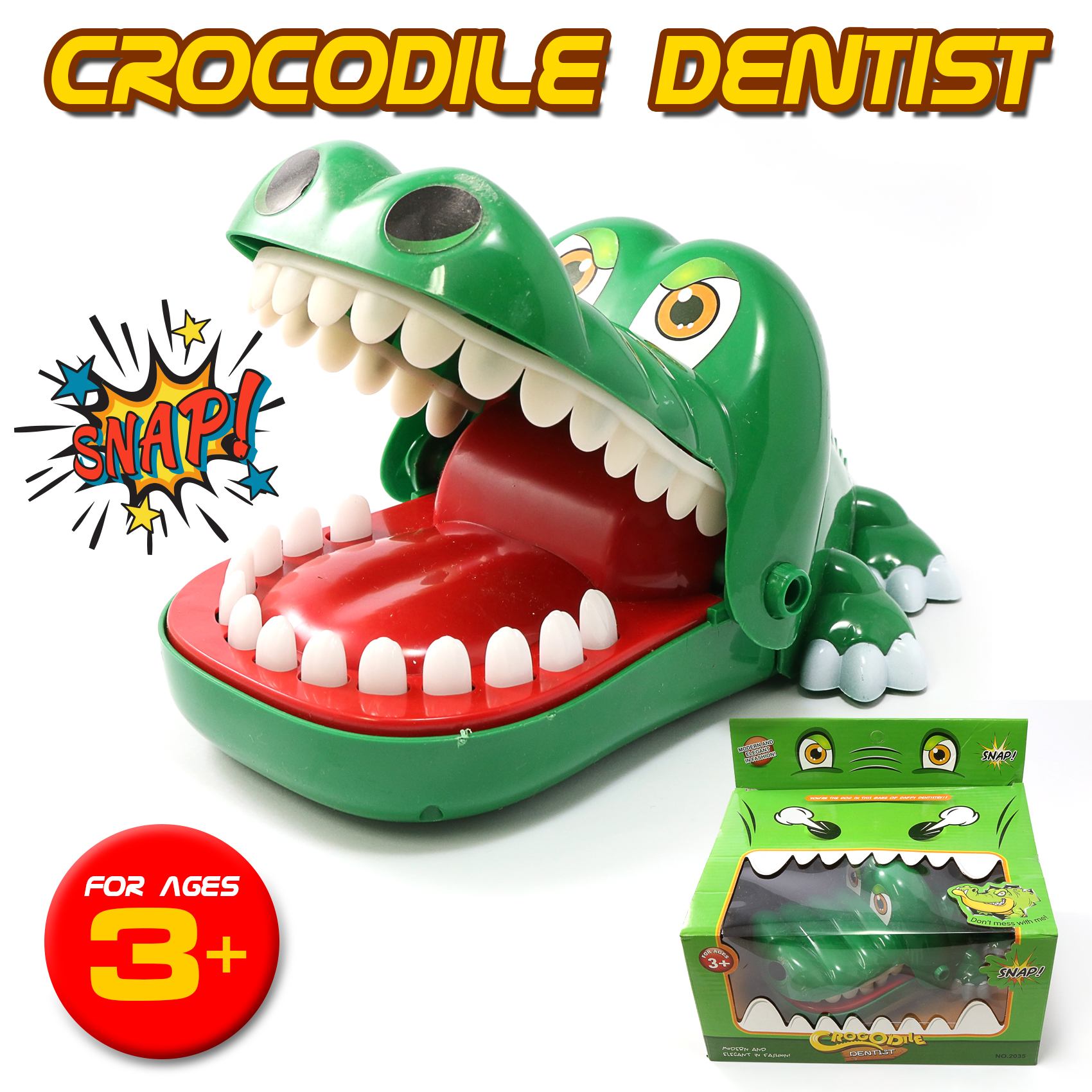 Crocodile Dentist Biting Mouth Mini Game - Green