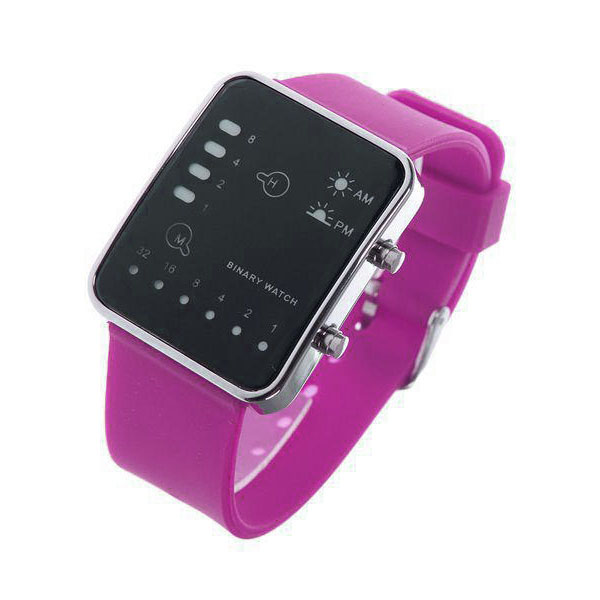 Digital LED Sports Binary Silicon Watch - Purple