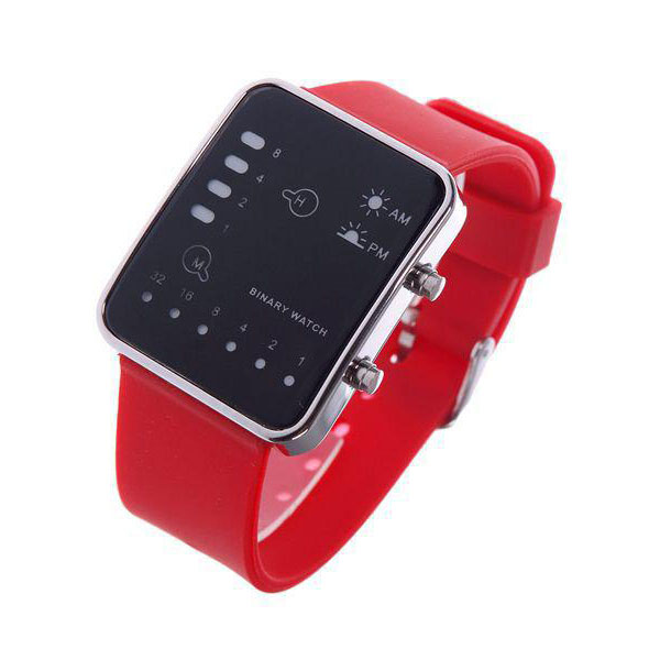 Digital LED Sports Binary Silicon Watch - Red