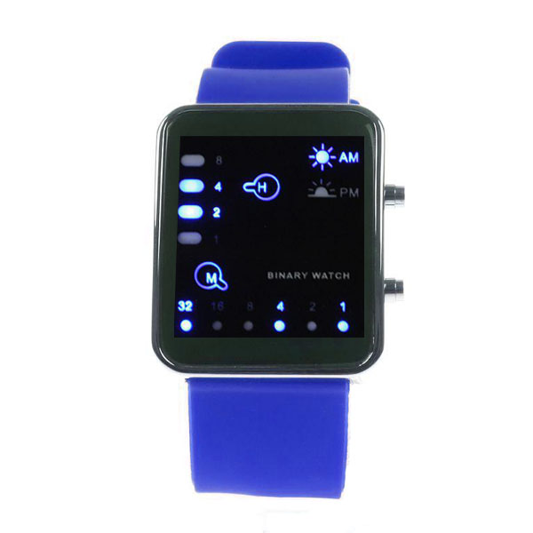 Digital LED Sports Binary Silicon Watch - Blue