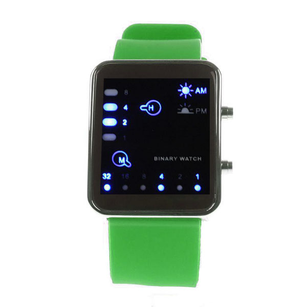 Digital LED Sports Binary Silicon Watch - Green