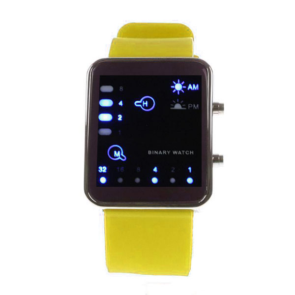 Digital LED Sports Binary Silicon Watch - Yellow