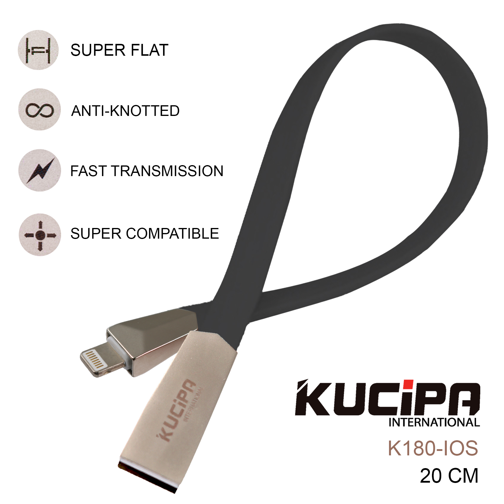 Kucipa K180 Lightning 20 CM Fast Charging and Data Cable - Black