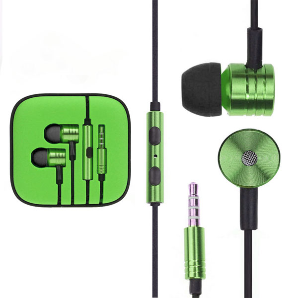 Fabric Braided Cable Earpods Headset - Green