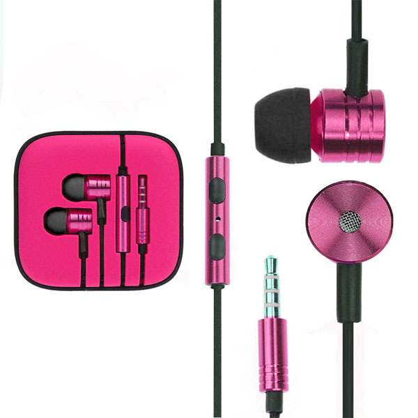 Fabric Braided Cable Earpods Headset - Pink