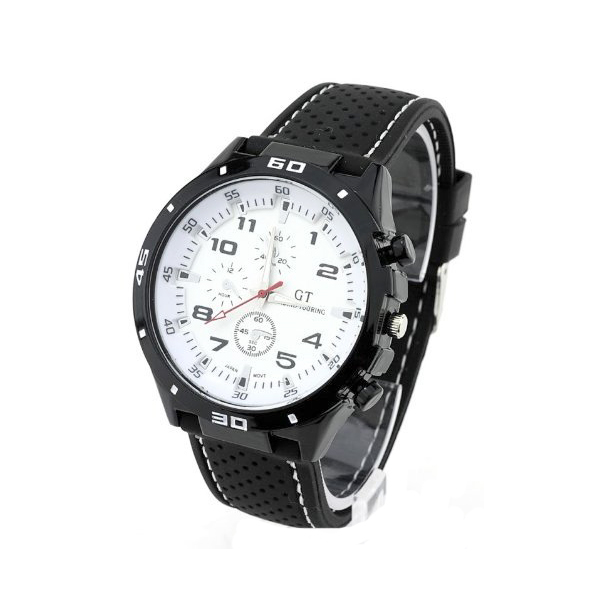 Water Resistant Grand Touring Racing Sport Watch - White