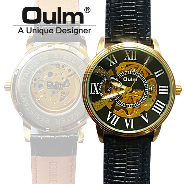 Oulm HP3015 Kinetic Quartz Round Dial Leather Watch - Black