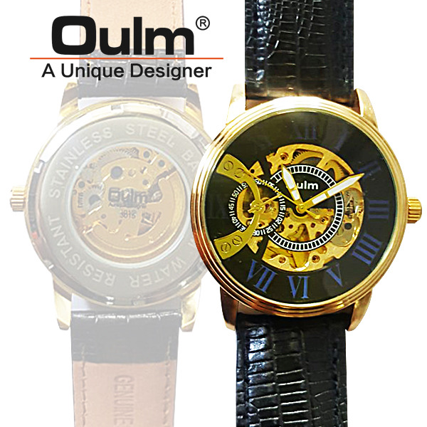 Oulm HP3015 Kinetic Quartz Round Dial Leather Watch - Blue
