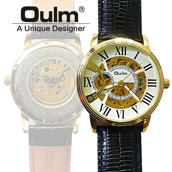 Oulm HP3015 Kinetic Quartz Round Dial Leather Watch - White