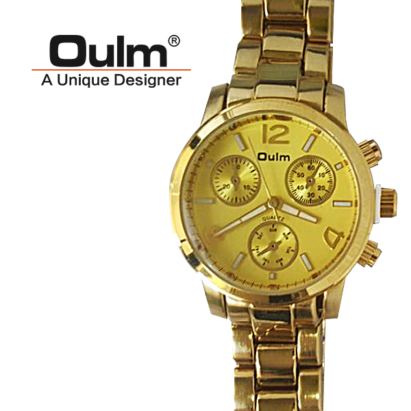 Oulm HP3256 Quartz Round Dial Stainless Steel Watch - Gold