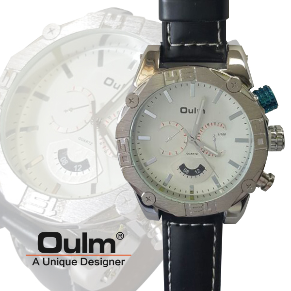 Oulm HP3694 Men's Quartz Dial Leather Band Watch - White