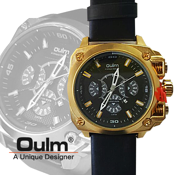 Oulm HP3705 Men's Quartz Round Dial Leather Watch - Black