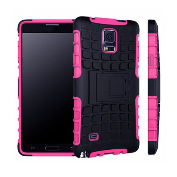 Heavy Duty Strong TPU Case Cover With Kick Stand For Samsung Galaxy Note 4 - Pink/Black