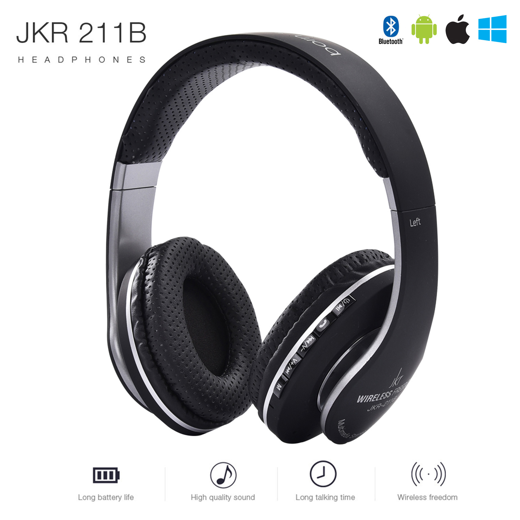 JKR Bluetooth Extra Bass Headphone - Black