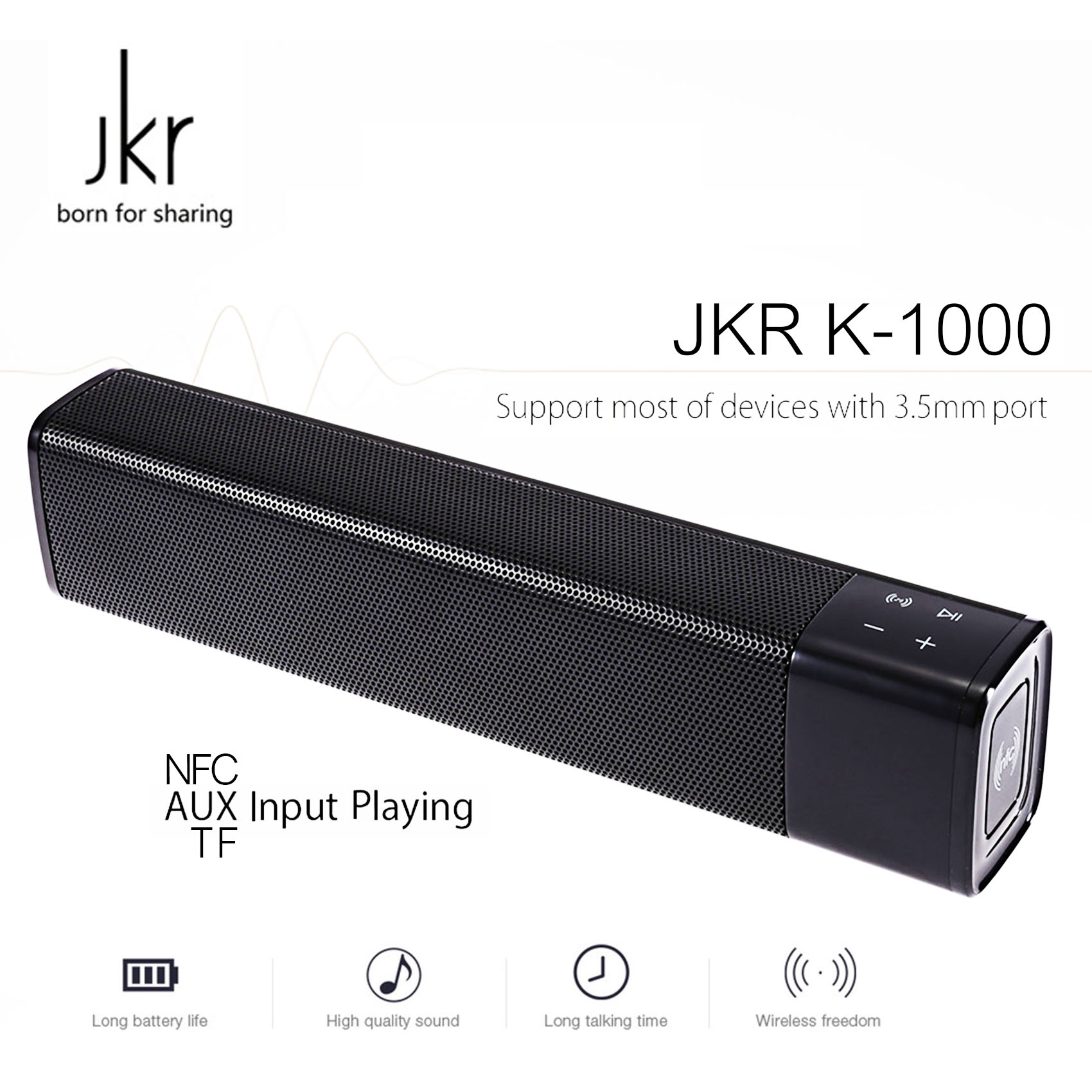 JKR NFC Wireless Bluetooth 4.1 Stereo Bass Speaker - Black