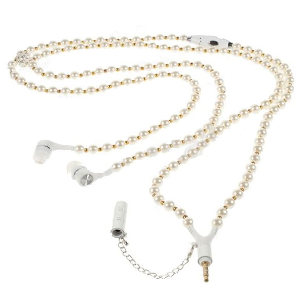 3.5mm Necklace Headphone With Mic In White and Gold Pearl Design