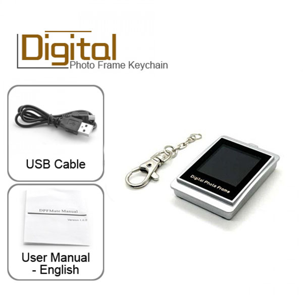 Keychain With Digital Photo Frame - White