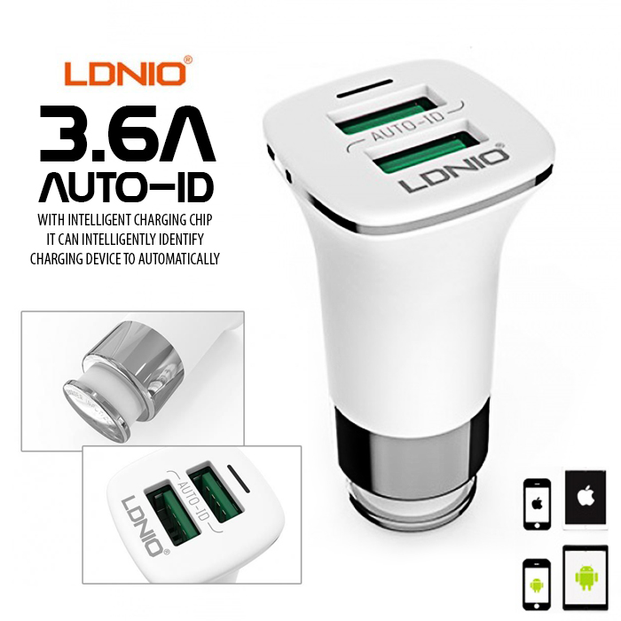 LDNIO 3.6A 2 Port Auto-ID Usb Car Charger - White