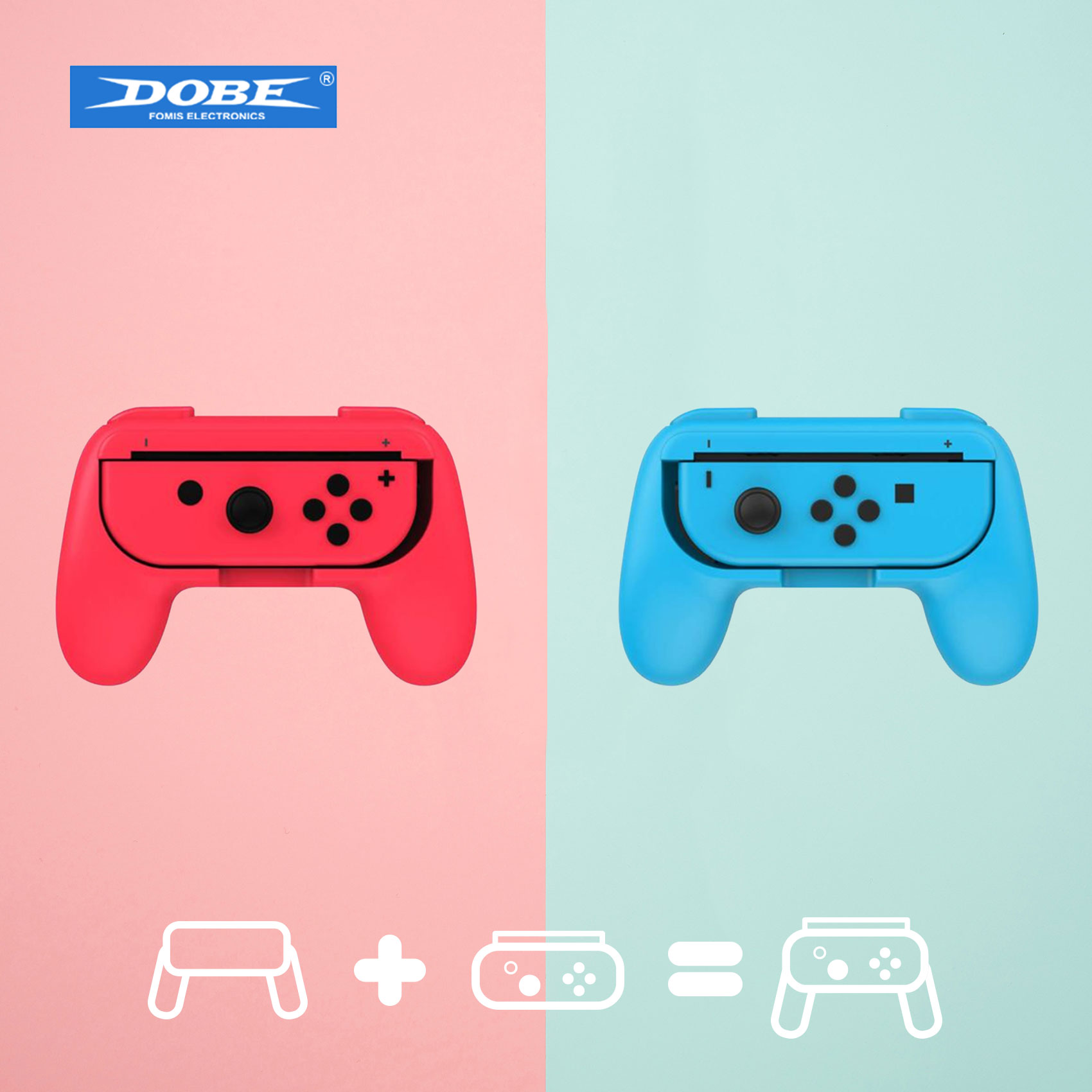 Dobe Controller Grip for Nintendo Switch – Blue/Pink